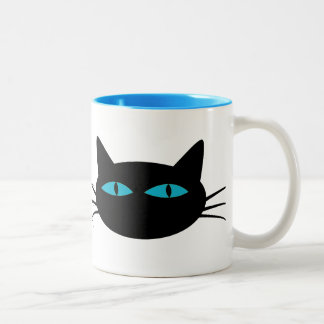 Blue-Eyed Black Cat Two-Tone Coffee Mug