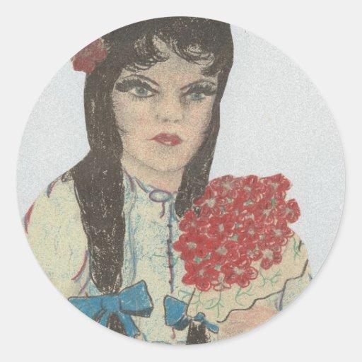 Blue Eyed Black Haired Girl Round Sticker