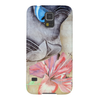 Blue-Eyed Cat and Flower Galaxy S5 Case