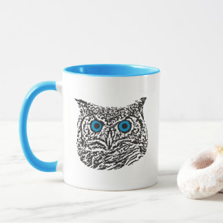 Blue-Eyed Graphic Owl Mug