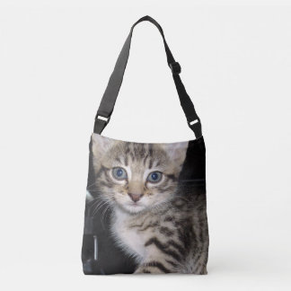 Blue Eyed Grey Striped Kitten, Crossbody Bag