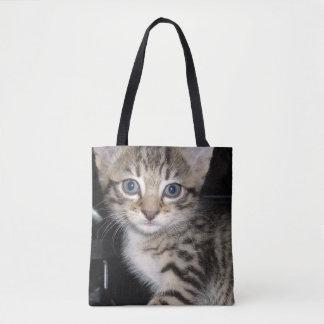 Blue Eyed Grey Striped Kitten, Tote Bag