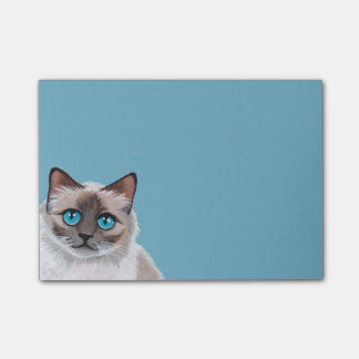 Blue Eyed Ragdoll Cat Portrait Painting Post-it Notes