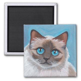Blue Eyed Ragdoll Cat Portrait Painting Square Magnet