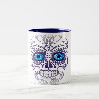 Blue-Eyed Skull on White Coffee Mug