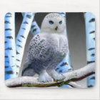 BLUE-EYED SNOW OWL MOUSE PAD