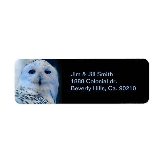 Blue Eyed Snow Owl Return Address Label