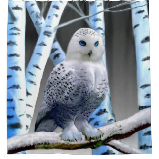BLUE-EYED SNOW OWL SHOWER CURTAIN