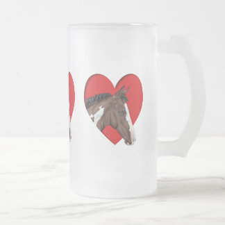 Blue Eyed Tobiano Paint Horse in Red Heart Frosted Glass Beer Mug