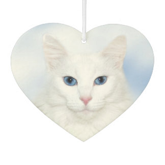 Blue eyed white cat car air freshener