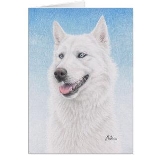 Blue Eyed White Siberian Husky Card