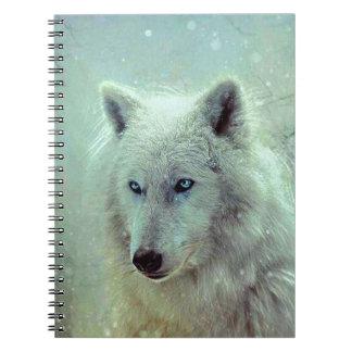Blue Eyed Wolf Painting Artwork Spiral Notebook
