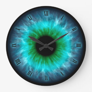 Blue eyes iris eyeball wall clock