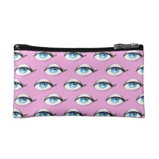 Blue Eyes Pattern Pink Makeup Bag