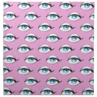 Blue Eyes Pattern Pink Napkin