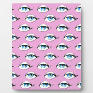 Blue Eyes Pattern Pink Plaque