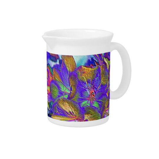 Blue F;loral Print Pitcher
