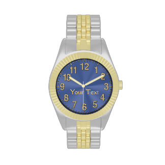 """Blue Face Watches for Men Personalized """"YOUR TEXT"""""""