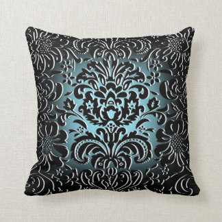 "Blue Fade ""Mock Flock"" Floral Pattern Cushion"