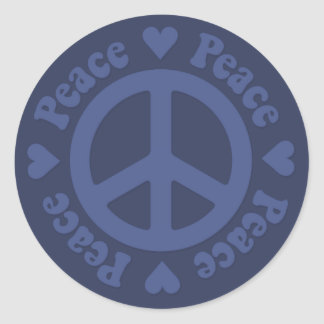 Blue Fade Peace Sign Round Stickers