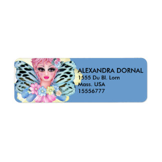 BLUE FAIRIE CARTOON  Return Address Labels
