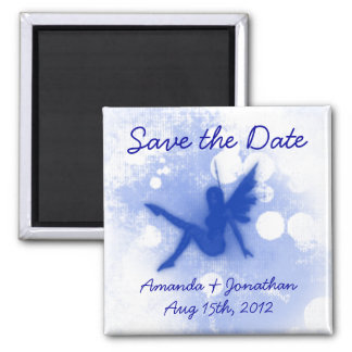 Blue Fairy Save the Date Square Magnet