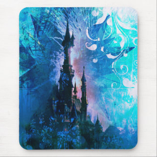 Blue Fairytale Fantasy Castle Grunge Mouse Pad