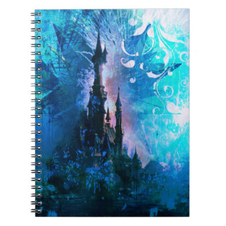 Blue Fairytale Fantasy Castle Grunge Notebook