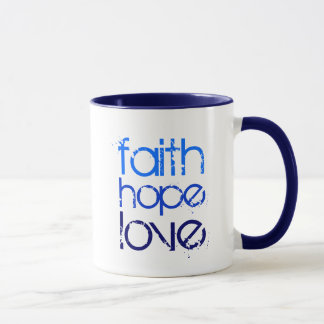 Blue Faith Hope and Love Mug