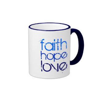 Blue Faith Hope and Love Ringer Mug