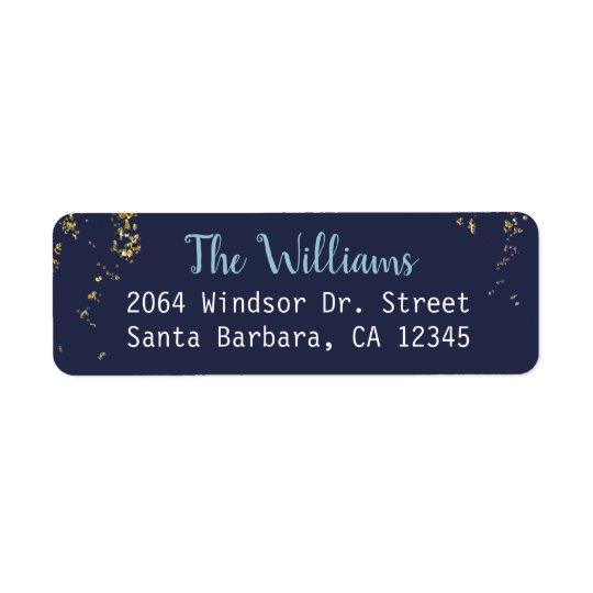 blue family name return address return address label