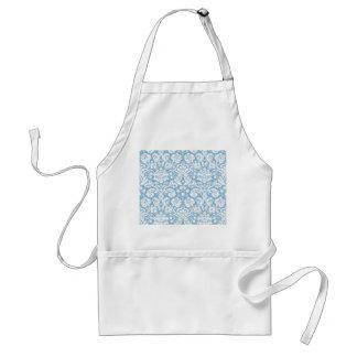 Blue fancy damask pattern standard apron
