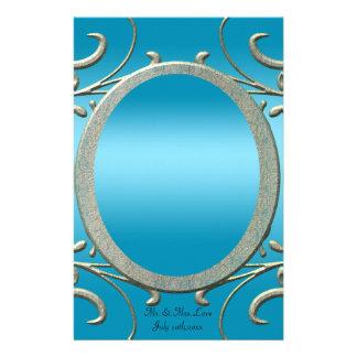 Blue & Fancy Metallic Silver Scrolls Wedding Personalized Stationery