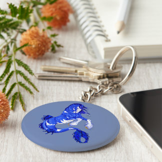 Blue Fantasy Clydesdale Seahorse Basic Round Button Key Ring