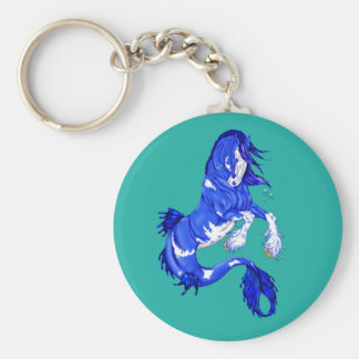 Blue Fantasy Clydesdale Seahorse Key Ring