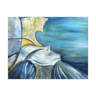 "Blue Fantasy Mermaid Goddess Portrait 1.5"" Thick Canvas Print"