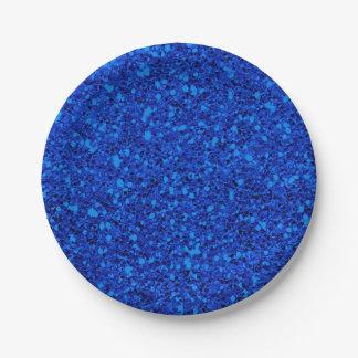 Blue Fantasy Sparkle Glitter Glam Custom Party Paper Plate
