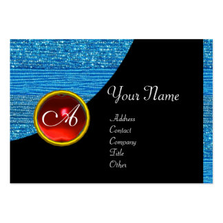 BLUE FASHION BEADS MONOGRAM ,black red ruby Business Card Template