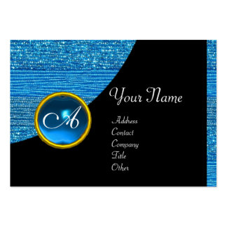 BLUE FASHION BEADS MONOGRAM ,black sapphire Business Card Template