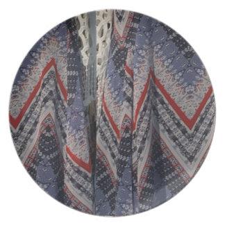 Blue Fashion Fabric Dress pattern template diy fun Party Plates