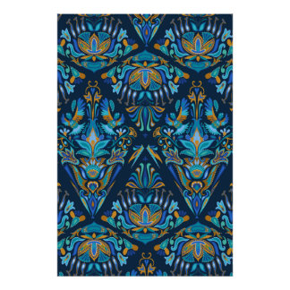 Blue fashion geometric floral tradition pattern poster