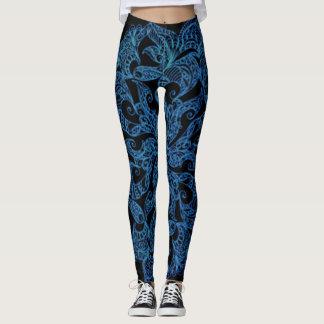 Blue, fashion print, pattern leggings