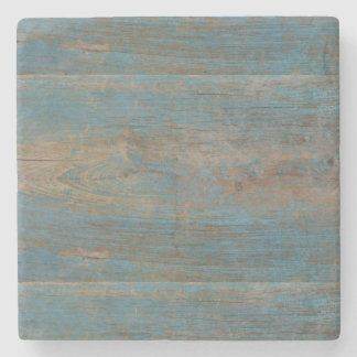 Blue Faux Beach Wood Texture Stone Beverage Coaster