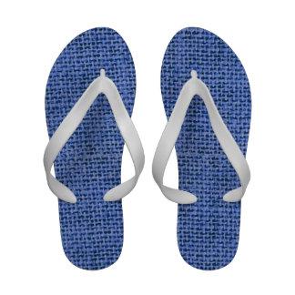Blue faux burlap print flip flops