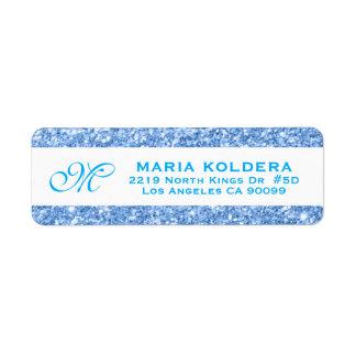Blue Faux Glitter Custom Monogram Return Address Label