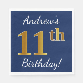 Blue, Faux Gold 11th Birthday + Custom Name Disposable Serviette