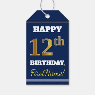Blue, Faux Gold 12th Birthday + Custom Name Gift Tags