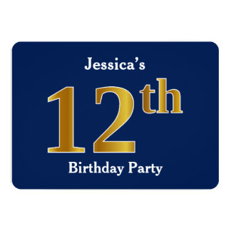 Blue, Faux Gold 12th Birthday Party + Custom Name Card