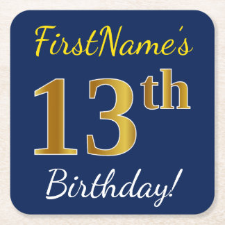 Blue, Faux Gold 13th Birthday + Custom Name Square Paper Coaster