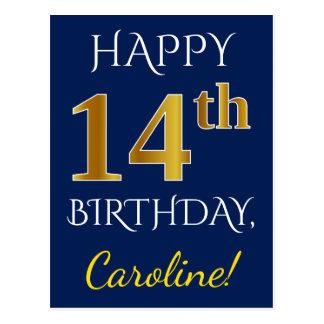 Blue, Faux Gold 14th Birthday + Custom Name Postcard